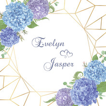 Wedding, Watercolor Flower Card.Leaves, Blooming Branches Eucalyptus, Gaultheria, Salal, Chamaelaucium, Seasonal Fern.Blue, Purple, Of Hydrangea.Vector Geometric Golden Frame On White Background