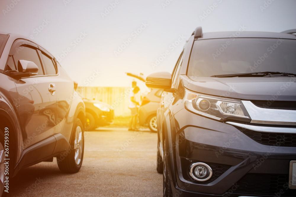 Fototapety, obrazy: Car parked row in car park,Car parking on  street