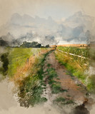 Watercolour painting of Countryside landscape of track leading through fields on Summer day - 267760713
