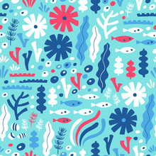 Sea Life Seamless Pattern With Fish And Water Plant. Vector Illustration. Kid Design.