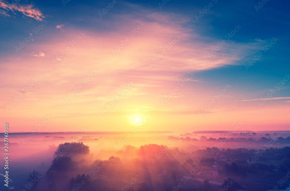 Fototapety, obrazy: Magical sunrise over the lake. Misty morning, rural landscape