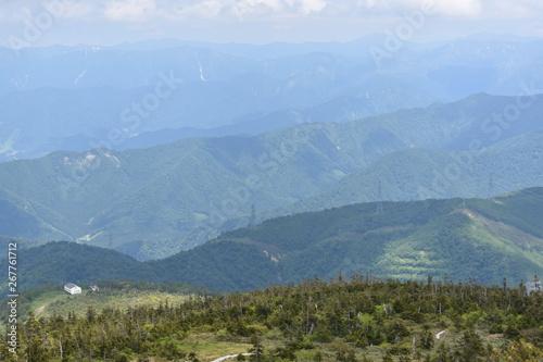 Poster de jardin Parc Naturel 苗場山の登山風景