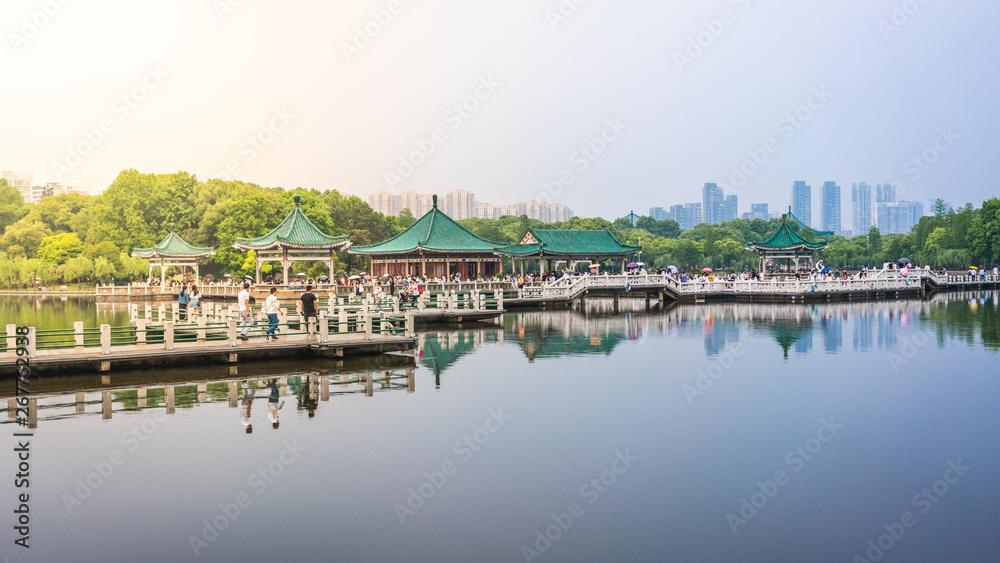 Fototapeta Wuhan Donghu east lake view with Chinese pavilion in Wuhan Hubei China