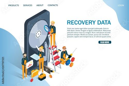 Fototapeta Recovery data vector website landing page design template obraz