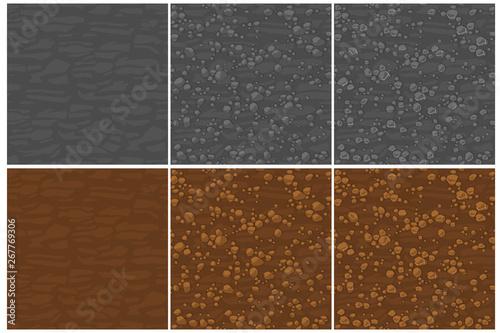 Obraz na plátně Cartoon seamless texture ground with small stones, 3 step drawing