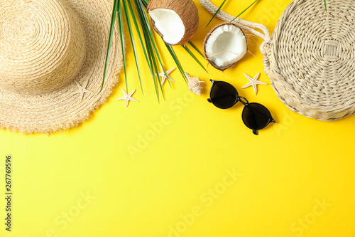 Canvas Prints Countryside Flat lay composition with summer vacation accessories on color background, space for text and top view. Happy holidays