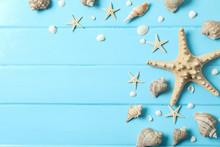 Many Starfish And Seashells On...