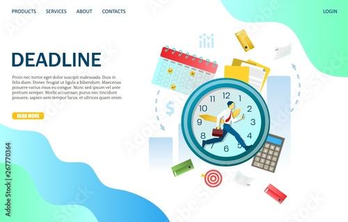 Deadline vector website landing page design template Canvas Print