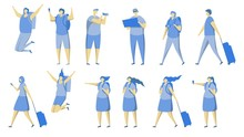 Travel People Icon Set, Vector Flat Isolated Illustration