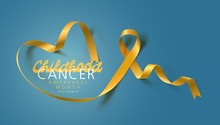 Childhood Cancer Awareness Calligraphy Poster Design. Realistic Gold Ribbon. September Is Cancer Awareness Month. Vector