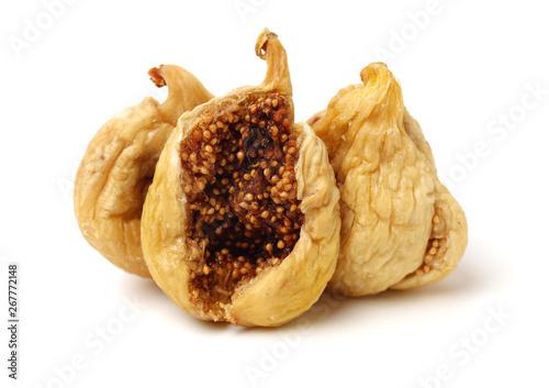 Vászonkép dried fig on white background