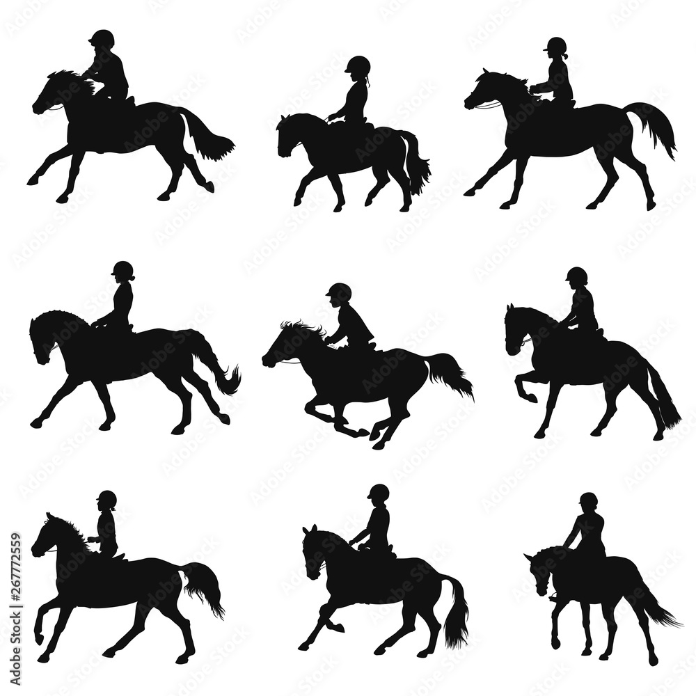 Fotografie, Obraz Set of silhouettes of sport ponies and riders