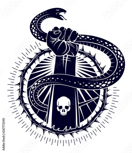 Fototapety, obrazy: Hand squeezes a snake, fight against evil devil and Satan, control your inner beast animal, archetype shadow, life is a fight concept, vintage vector logo or tattoo.