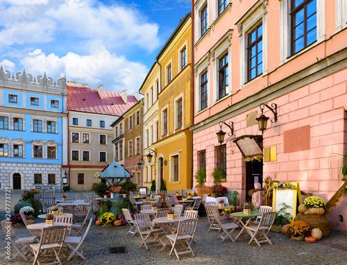 Obraz Street café in beautiful Lublin, Poland - fototapety do salonu