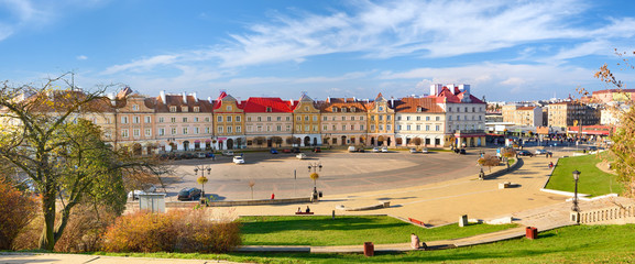 Panorama of square in beautiful Polish city Lublin