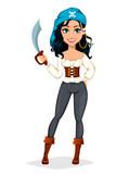 Pirate woman. Beautiful lady cartoon character