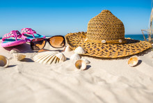 White Sandy Beach With Accessories, Holiday Vacation Concept, Summer Background