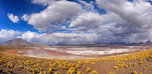 Panorama Of Laguna Colorada In Eduardo Avaroa National Reserve. Potosi. Altiplano. Bolivia. South America. This Photo Does Not Have Film Grain And Posterization - These Are Sand And Thunder Clouds