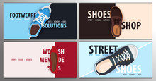 Set Of Modern Banners Template For Shoes Shop. Vector Illustration.