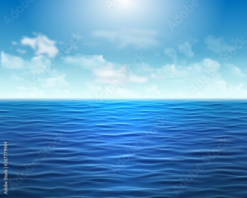 Cadres-photo bureau Bleu jean Realistic blue sea background with waves and sun on the sky