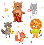 Fototapeta Fototapety na ścianę do pokoju dziecięcego - Orchestra. Animals with musical instruments