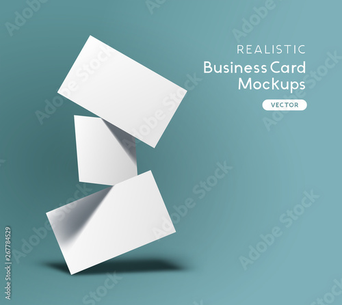 Fototapeta Floating stack of business cards. Brand identity mockup design with shadows. Vector illustration. obraz