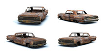 3d-renders Of Burnt Muscle Car