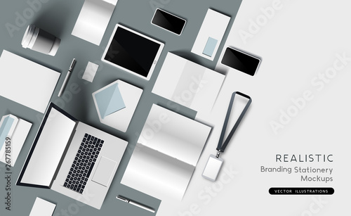 Fotografia Realistic Top view of identity and branding stationary and products