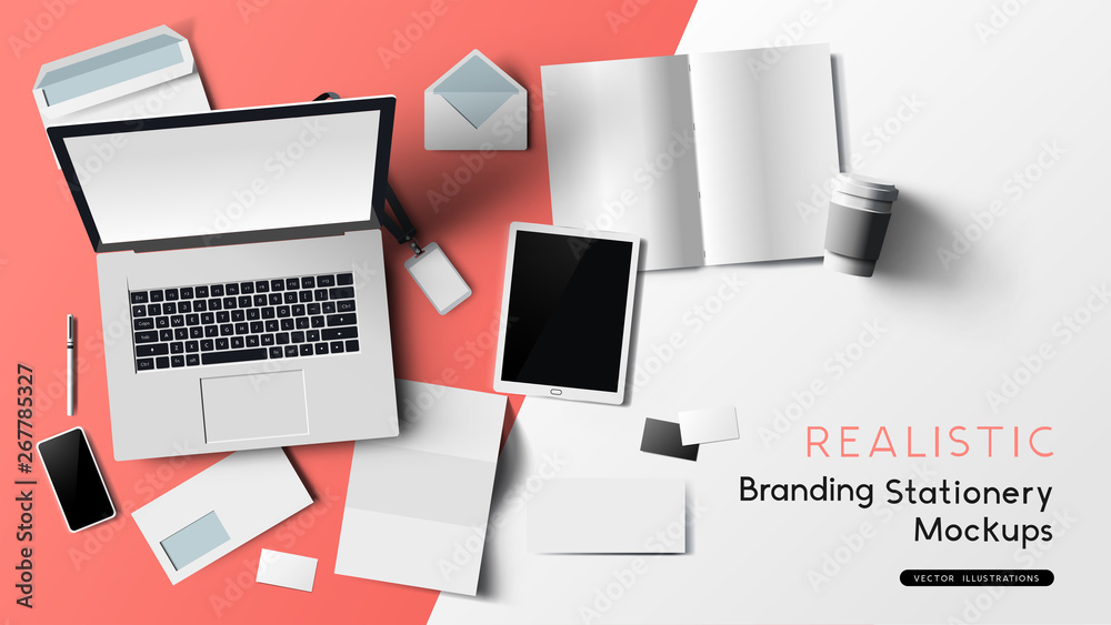 Fototapeta Stationery and office branding objects mockup template with a notebook, paper objects and smartphone. Vector illustration.