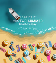 Summer Holiday Background With A Group Of People Relaxing And Having Fun By The Sea. Top Down / Aerial View Vector Illustration.