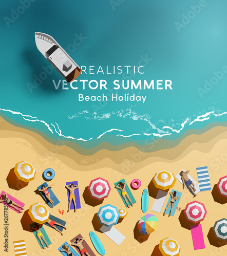 Summer holiday background with a group of people relaxing and having fun by the sea. Top down / aerial view vector illustration. - 267785345