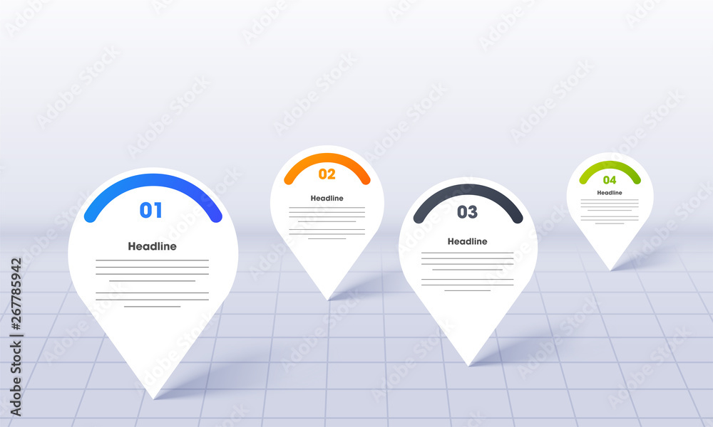 Fototapeta Business Infographics for PowerPoint with map location pins on grid background.