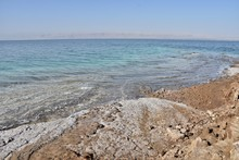 Salt Crystals On Dead Sea, Jordan, West Bank In The Distance