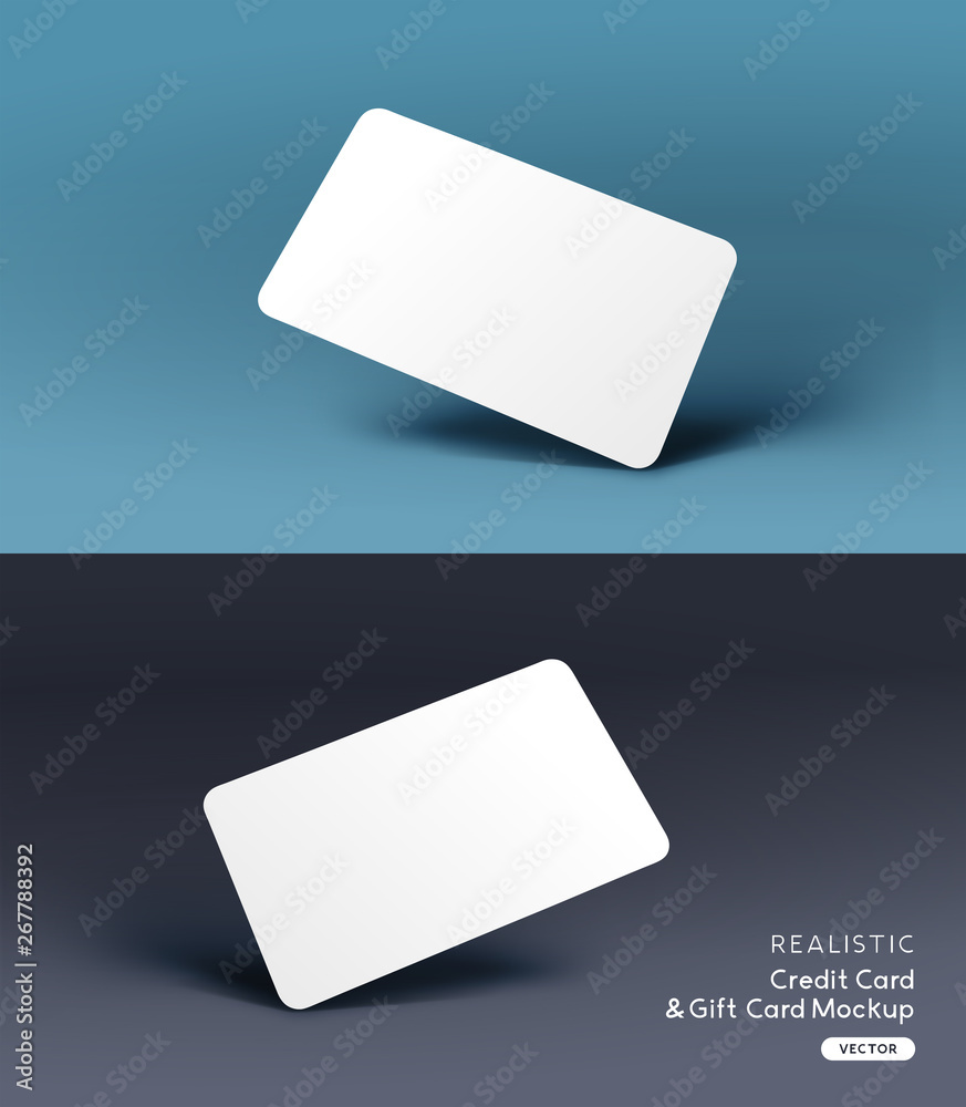 Fototapeta A realistic business credit / gift card placeholder mockup stationary layout with shadow effects. Vector illustration