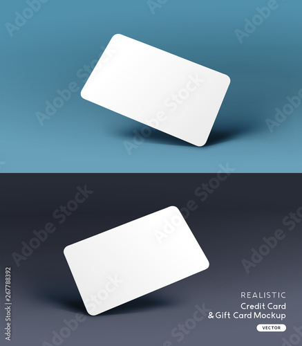 Fototapeta A realistic business credit / gift card placeholder mockup stationary layout with shadow effects. Vector illustration obraz