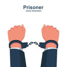 Hands In Handcuffs. Human In J...