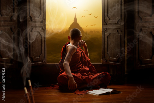 Novice buddhist monk inside a temple in the Bagan Valley Fotobehang