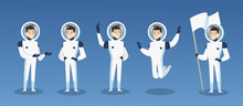 Vector Illustration Set Of Cartoon Astronauts, Spaceman In Different Positions. Moving Cosmonaut In Space Costume, Man In Spacesuit, Isolated On Blue Background. Spaceman In Cosmos Concept, Galaxy