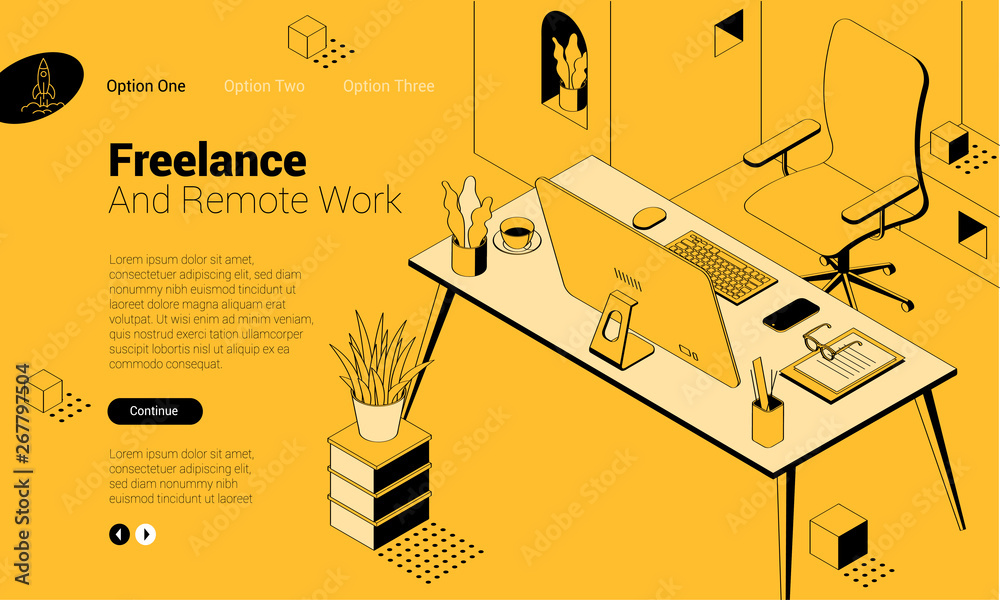 Fototapeta isomentric freelancer workplace.