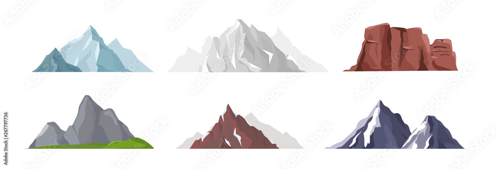 Fototapeta Vector illustration collection of different mountain icons in flat style. Rocks, mountains and hills set isolated on white background.