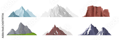 Vector illustration collection of different mountain icons in flat style Fotobehang