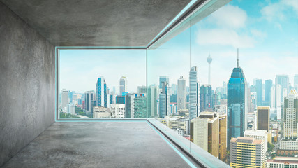 Panel Szklany Do biura Empty loft unfurnished contemporary interior office with city skyline and buildings city from glass window .