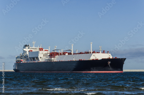 Photo  LNG TANKER - A ship with a gas load goes to the port