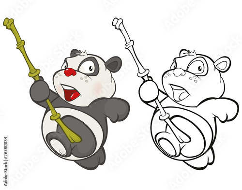 Vector Illustration of a Cute Cartoon Character Panda for you Design and Computer Game. Coloring Book Outline Set