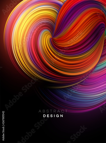 Color Flow Abstract shape poster design. Vector illustration - 267801542