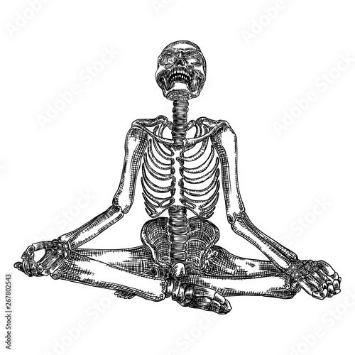 Canvas Print Human skeleton in yoga meditation or Lotus position with skull thrown back