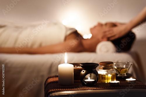 Fotografía  Aroma Spa. Girl Enjoying Massage In Luxury Spa