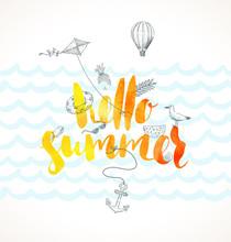 Hello Summer - Vector Illustra...