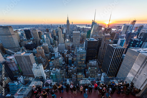 Panorama view of Midtown Manhattan skyline with the Empire State Building from the Rockefeller Center Observation Deck Slika na platnu