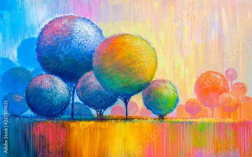 Obraz Abstrakcyjny kolorowy pejzaż - obraz malowany na płótnie - fototapety do salonu